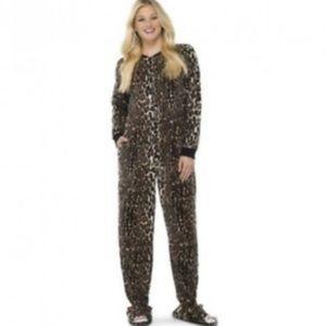 New Nick & Nora Fleece Union Cat Footie Zip Pajama